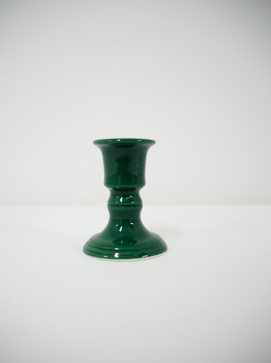 Candlestick holder - green, ceramic