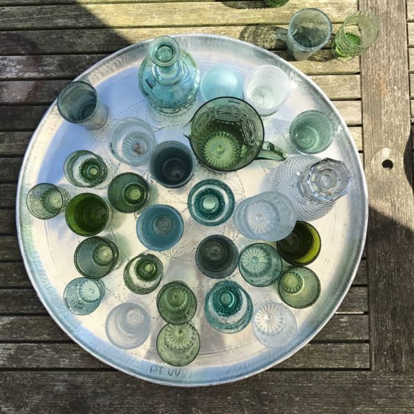 Glassware - diamond, stemmed green
