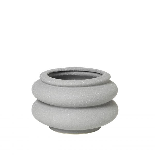 Plant pot - grey ceramic ridged