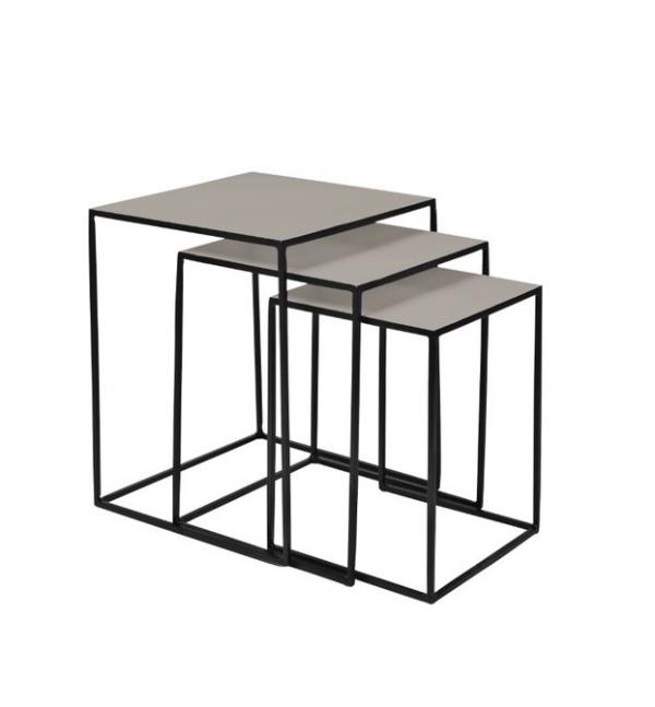 Table - nest of three, light grey
