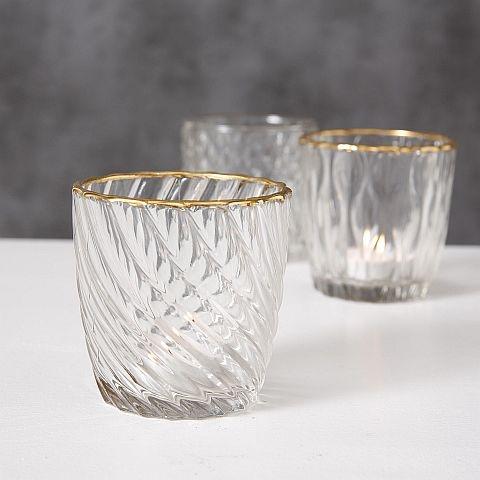 Tealight Holders - Gold Rimmed