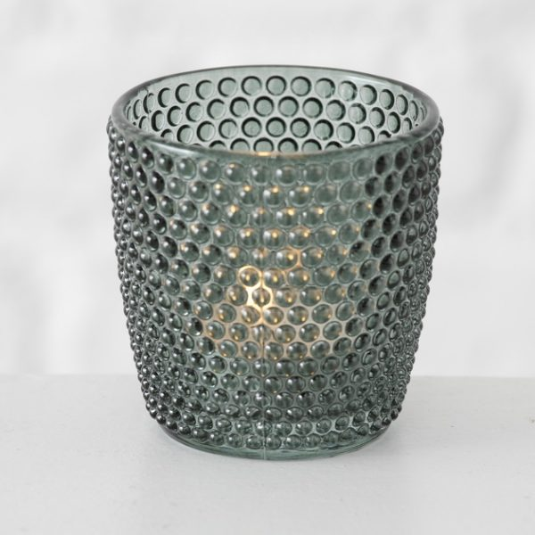 Tealight Holder - Green with Circles
