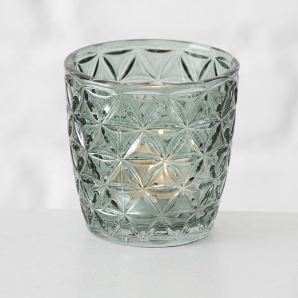 Tealight Holders - Green with Triangles