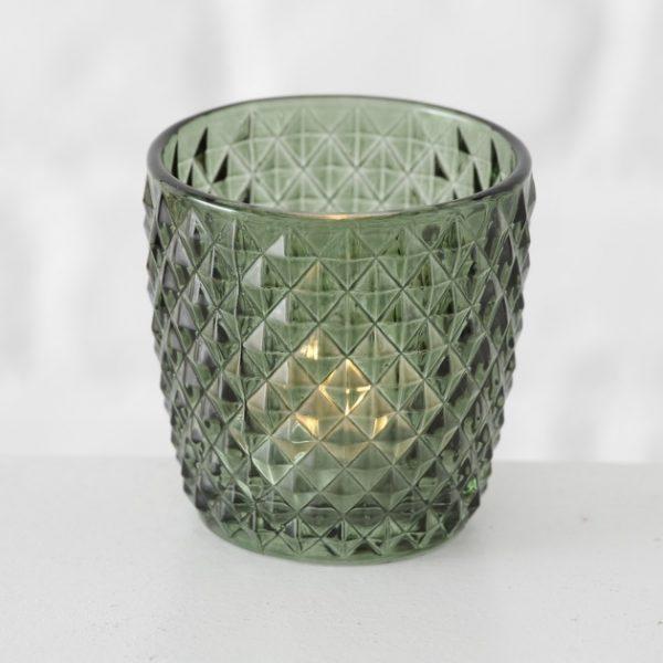 Tealight Holders - Green with diamonds