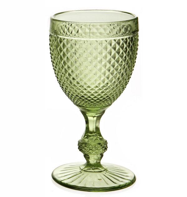 Set of 6 - Stemmed diamond glass green - signature rentals