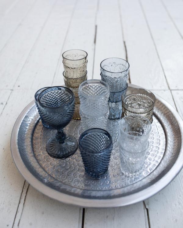 Glassware - diamond, stemmed grey