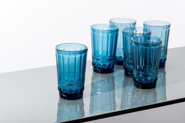 Set of 6 - blue ridged water glass