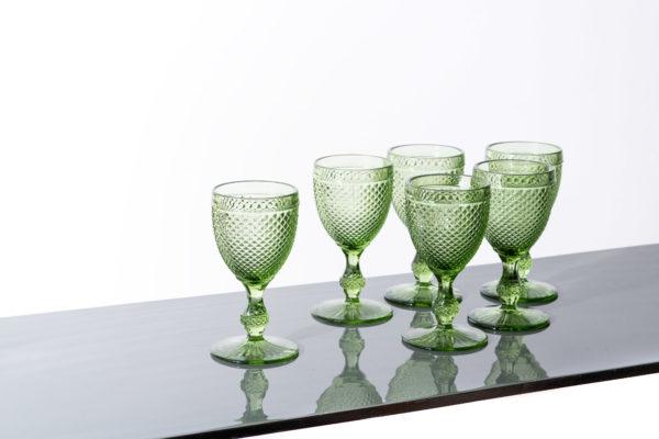 Set of 6 - Stemmed diamond glass L, green - signature rentals