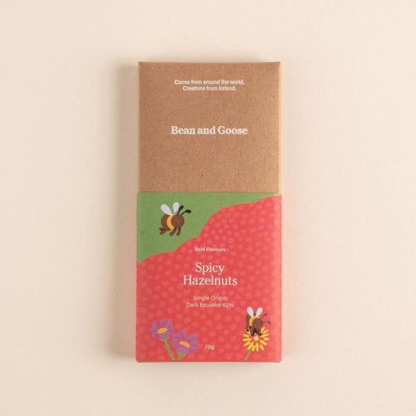 Bean and Goose - Bold & spicy hazelnuts chocolate bar - signature rentals