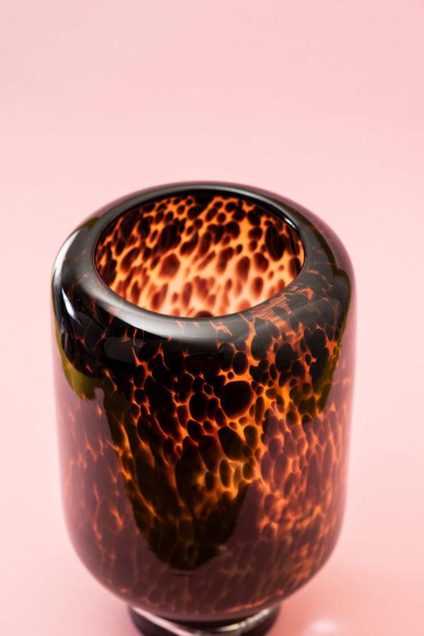 Tortoise shell glass hurricane - signature rentals