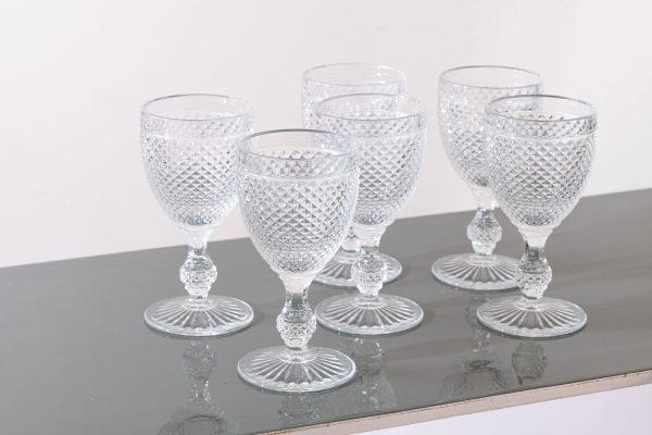 Set of 6 - Stemmed diamond glass L, clear