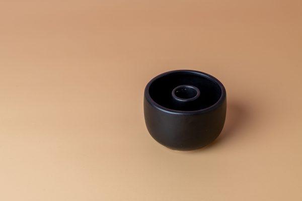 Stoneware candle holder - black - Signature Rentals