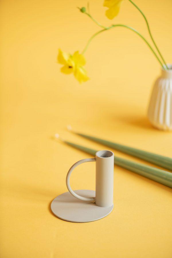 Grey enamel candle holder - matte