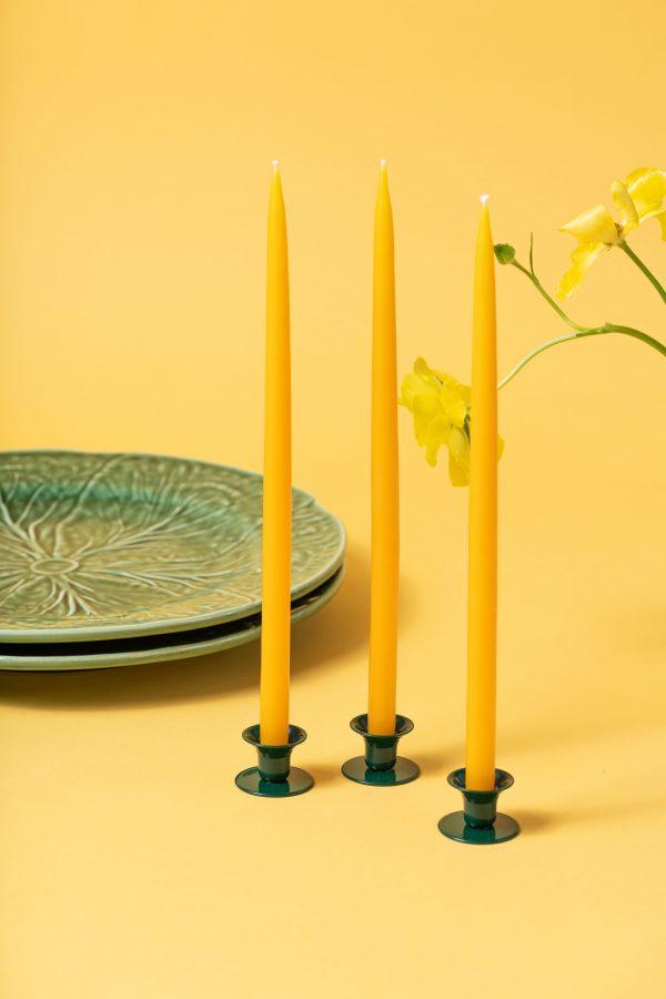 Mini buttercup candle holder - moss green