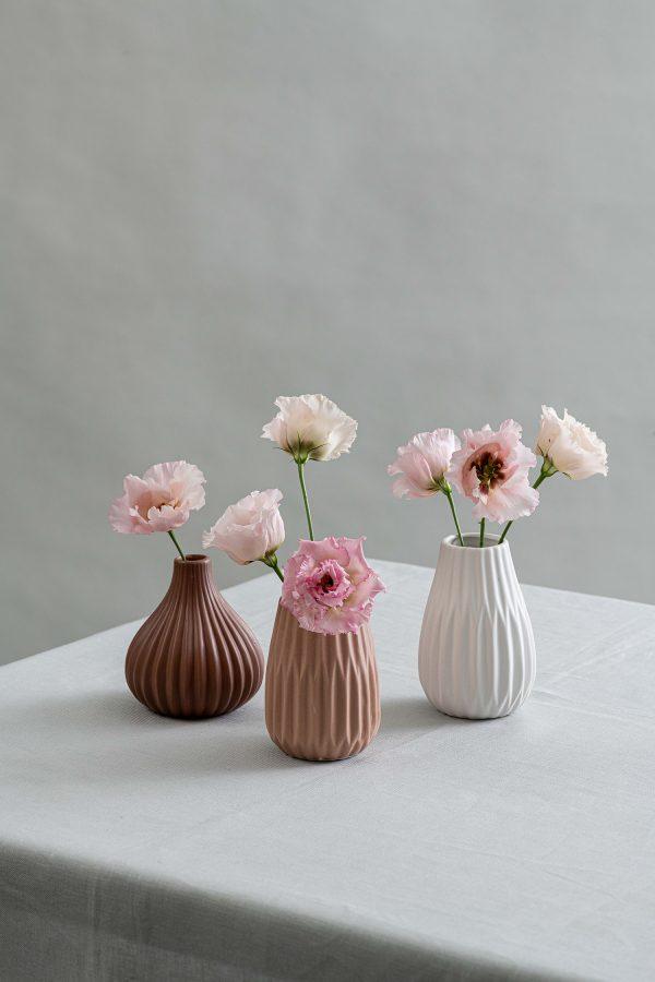 Herbarium Trio Vases Brown Tan White - 1- Signature Rentals (1)